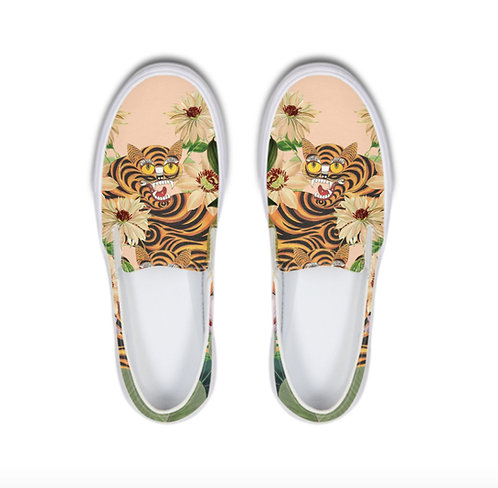 Tiger and Flowers Slip-On