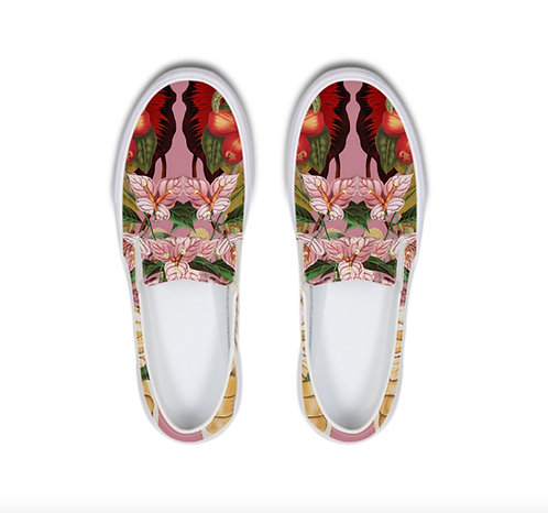 Pink Flowers Slip-On