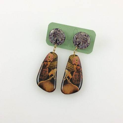 Diamond & Hipnotist- Double sided drop earrings