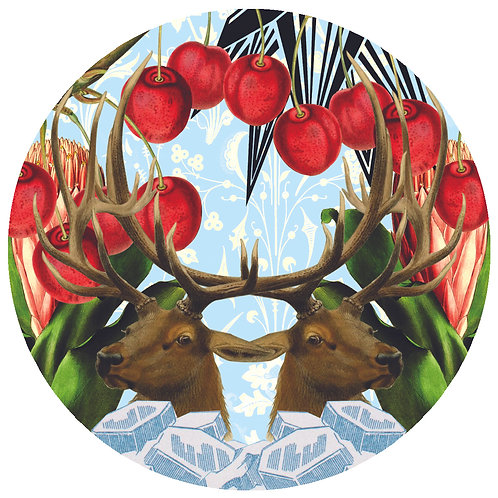 Cherries and Deers - Sold as individual coaster.
