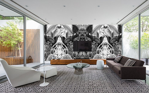 Owls Black & White-Wallpaper Mural-
