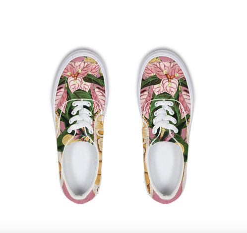 Pink flowers Lace Up Canvas Shoe