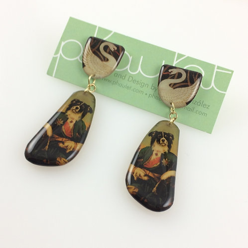 Swans & Dog Portrait- Double sided drop earrings