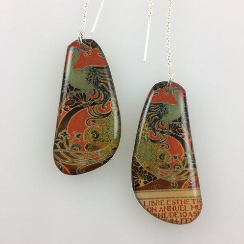 Guns & Art Nouveau- Double sided drop earrings