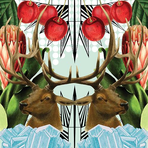 Deer & Cherries - Sold as individual coaster.