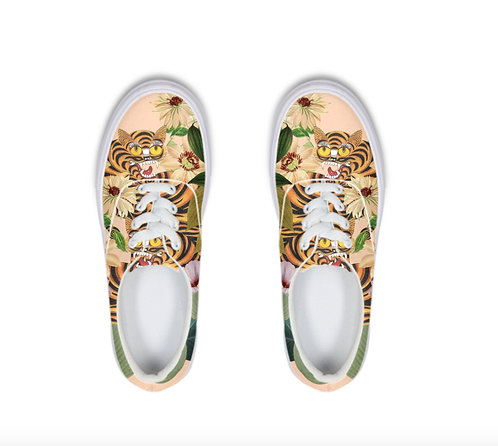 Tiger and flowers Lace Up Canvas Shoe