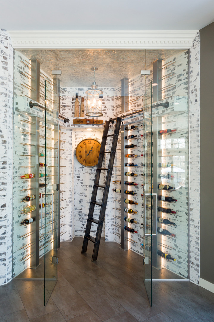 Room with wine shelves