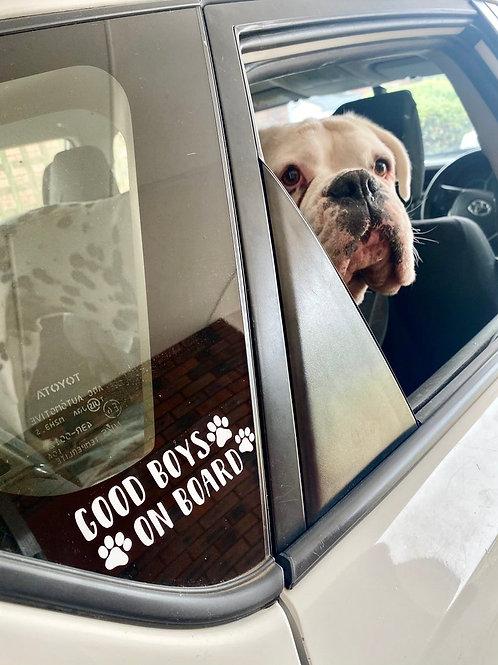 """""""Good Boys On Board"""" Car Sticker"""