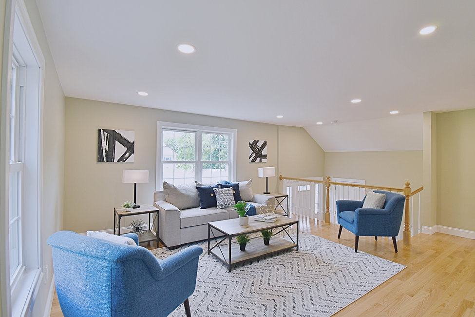 Joshua Allen Design - Interior Design - Property Staging - Photography - Massachusetts - Worcester County - New England - Decor - Living Room - Gray Couch - Blue Pillows - Plants - Lamps