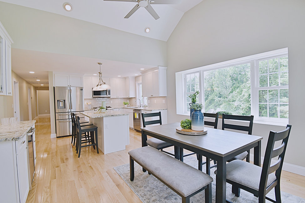Joshua Allen Design - Interior Design - Property Staging - Photography - Massachusetts - Worcester County - New England - Decor - Kitchen - Dining Room - Modern Style - Open Concept - White Cabinets - Black Chairs - Plants - Vases