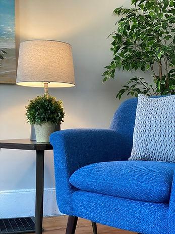 Joshua Allen Design - Interior Design - Property Staging - Photography - Massachusetts - Worcester County - New England - Decor - Blue Chair - Plants - Lamp - Modern - Living Room