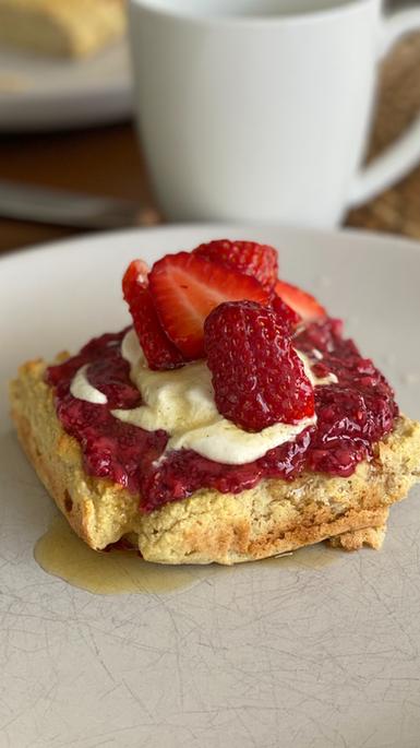 Baked Pancakes with Raspberry Chia Jam and Cashew cream