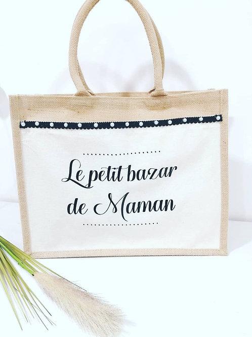 """Sac en jute """"Le petit bazar de Maman"""" taille XL"""