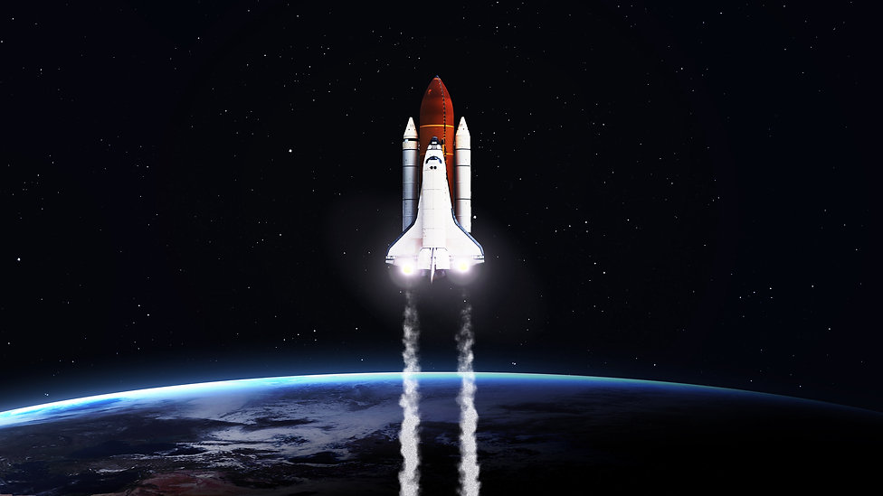High resolution image of Space shuttle taking off on mission. Elements furnished by NASA.j