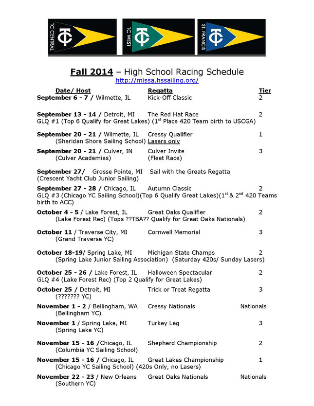 Fall HS Sailing Regatta Schedule (We may not be attending all of these regattas - Check with Coach D