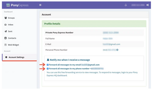 Pony Express dashboard forwarding incoming messages