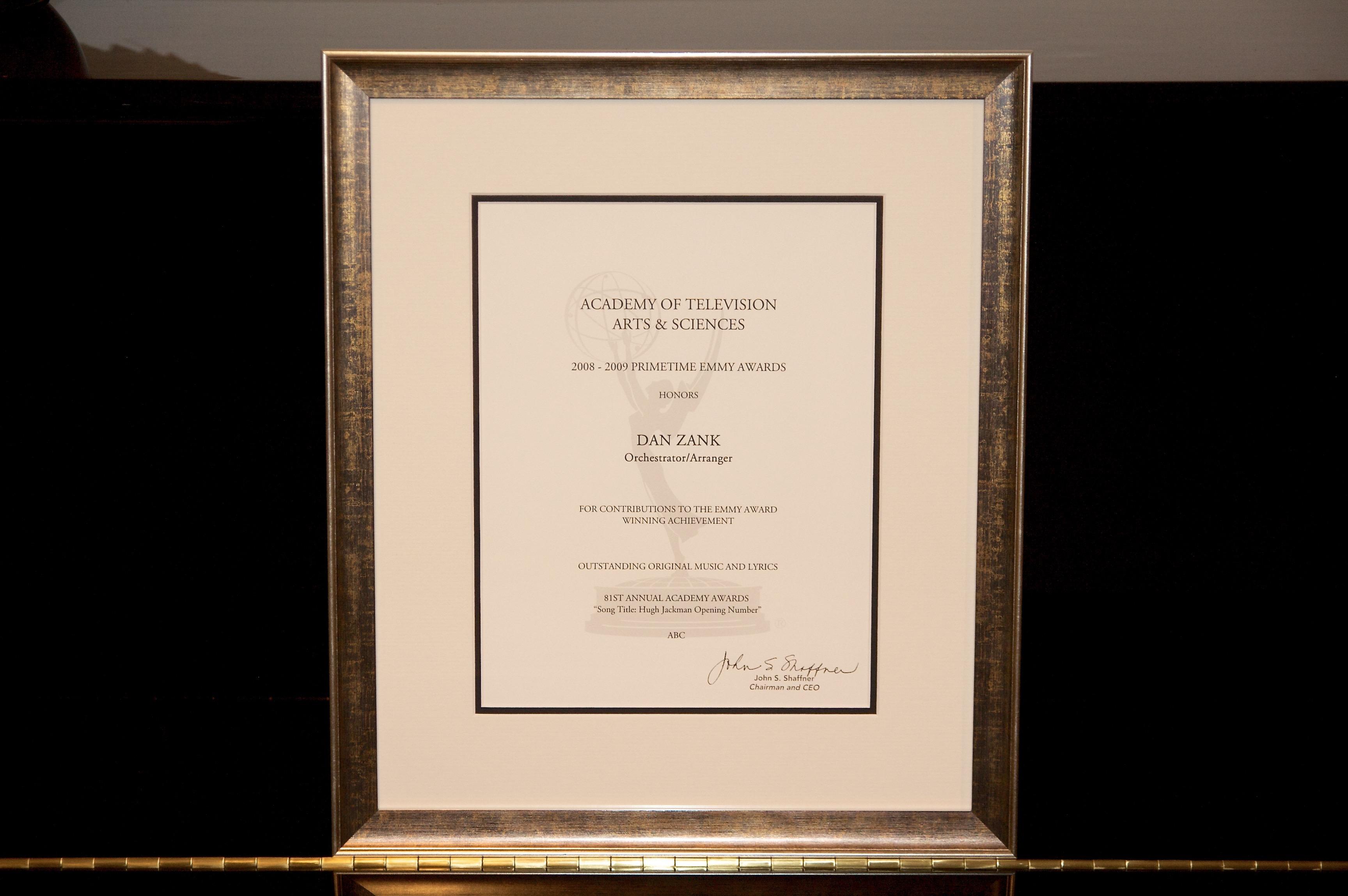Emmy certificate