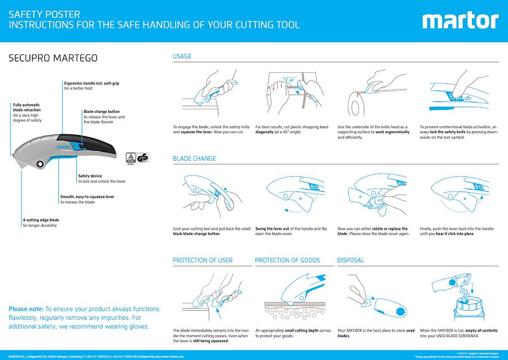 Safety Training Poster for the MARTOR Secupro Martego Safety Knife
