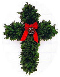 Cross and candycane wreaths