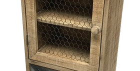 20154 Smokey Cabin Wall Cabinet with Envelope Drawer