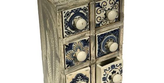 79043 Azulejos WW 6-Drawer Spice Cabinet