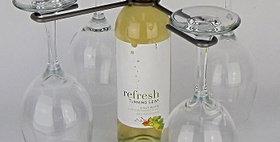 89069 Wine Bottle Four Stem Contemporary Holder-Pewter-2