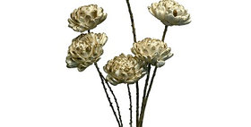 41082 6 Snow Ball Stems White/Gold Bunch