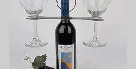 86663 Rooster Open End Wrench Wine Glass Holder-Natural-