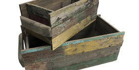 31012 Set of 2 Reclaimed Wood Rectangle Planters