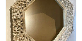 60080 Carved Wood Octagonal Wall Mirror