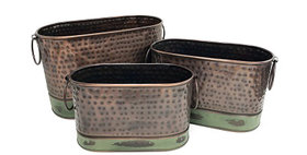 69013 Set of 3 Antique Copper Oval Buckets