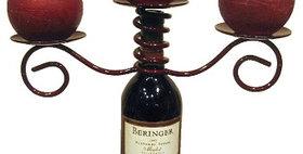 88074 Wine Bottle Triple Candle Holder-Merlot-28074