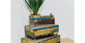 31010 Set of 3 Reclaimed Wood Rectangle Risers