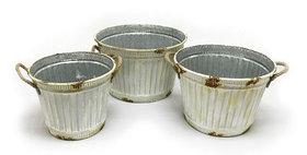 10410 Set of 3 Corrugated Tin Planter Buckets-sc