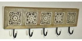 60054 Carved Wood 5 Hook Wall Rack
