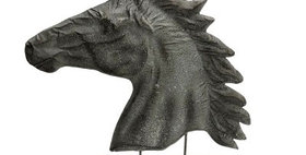 22022 Embossed Metal Stallion Bust on Wood Base