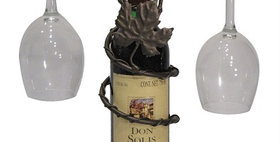 81596 Grapevine Wine Bottle Topper 2 Stem Holder-Meteor-