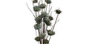 41035 24 Stem Ting Zinnia Flower Branches - SeaFoam