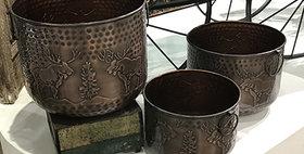 52025 Set of 3 Hammered Moose Planters-Antique Copper