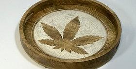 60060 Cannabis Design Round Serving Tray