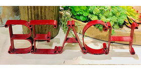 10147 BEACH Cutout Sign-Distressed Red-23141