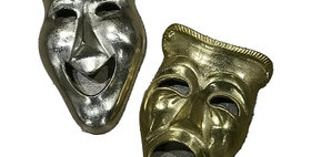 55006 Set of Two Theatrical Mask Crying & Laughter