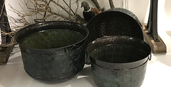 52026 Set of 3 Chequer Planters-Antique Copper/Turquoise