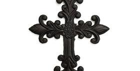 51004 Cast Iron Fleur De Lis Wall Cross