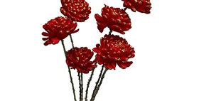 41083 6 Snow Ball Stems Red/Gold Bunch
