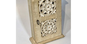 60052 Carved Wood Key Box-