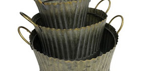 31017 Set of 3 Fluted Round Planters