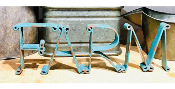 10134 FARM Cutout Sign-Distressed Turquoise-16135