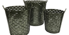 50029 Set of 3 Conical Olive Buckets