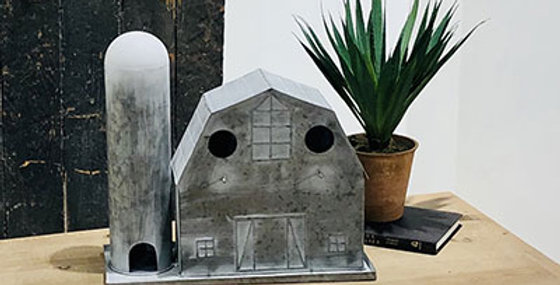 50032 Metal Barn-Silo Birdhouse-White Washed
